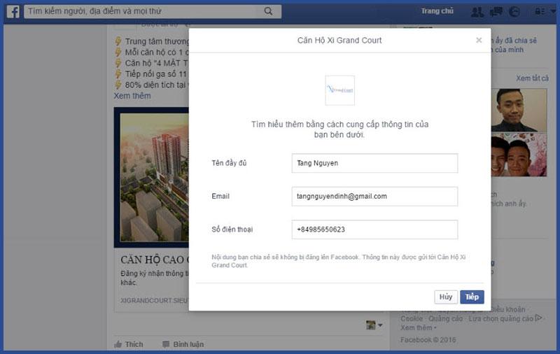 quảng cáo facebook thu thập thông tin khách hàng tiềm năng ngành bất động sản