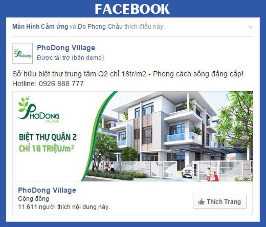 quảng cáo page like ngành bất động sản trên facebook